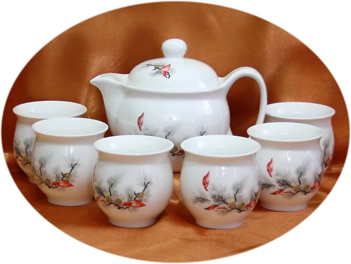 Chinese tea set Pine Art Chinese Tea Set
