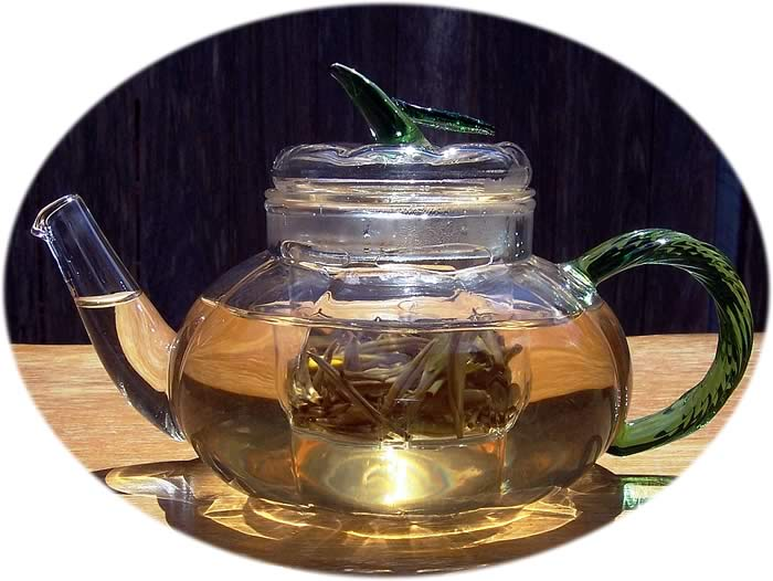 Glass teapot - pumpkin design