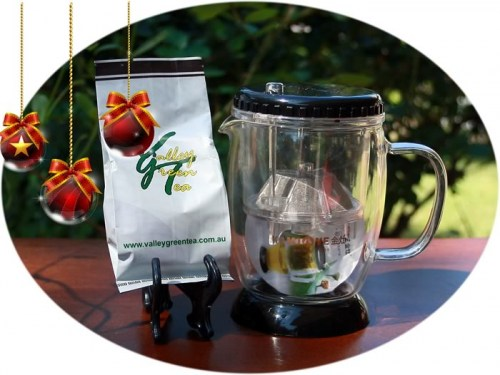 Christmas tea gift glass infuser and tea