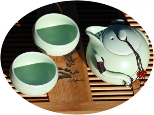 Chinese tea set Ding Kiln tea set for 2 - jade