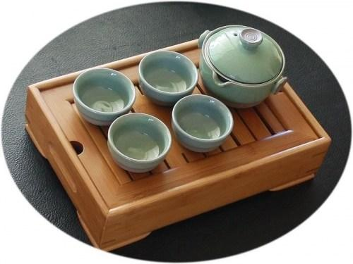 Chinese tea set Ge Kiln Tea set and bamboo tea tray