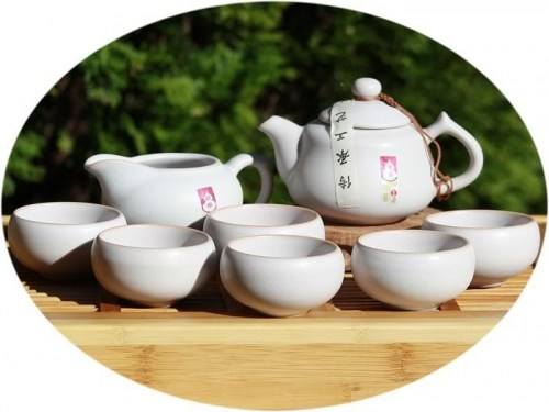 Chinese tea set Ru Kiln Tea Set - nougat
