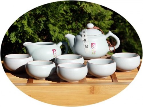 Chinese tea set Ru Kiln Tea Set - pastel blue