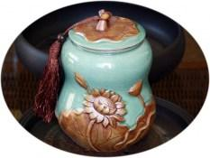 Extra large tea canister - Crystal Lotus