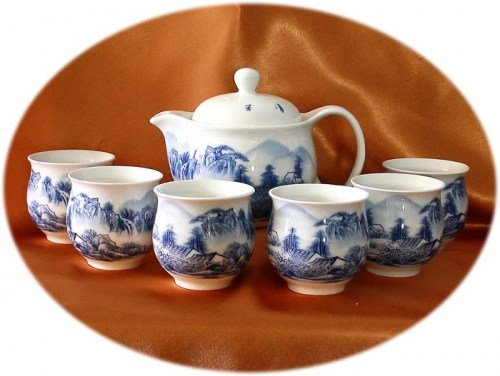 Chinese tea set 7 pieces double layer cups - landscape