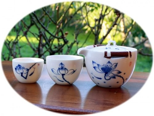 Chinese tea set Hand paint tea set for 2 - pond alive