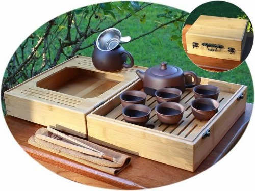 Chinese tea set yixing zisha with bamboo tea tray B