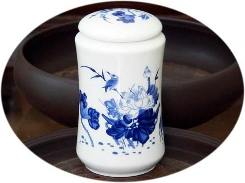 Tea canister (large ceramic) - summer pond
