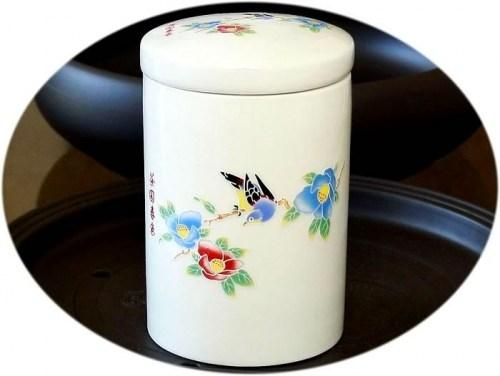 Tea canister (large ceramic) - Spring awakening design