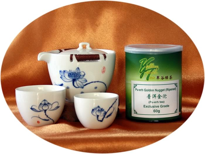 tea gift 2 persons' tea set with golden nugget
