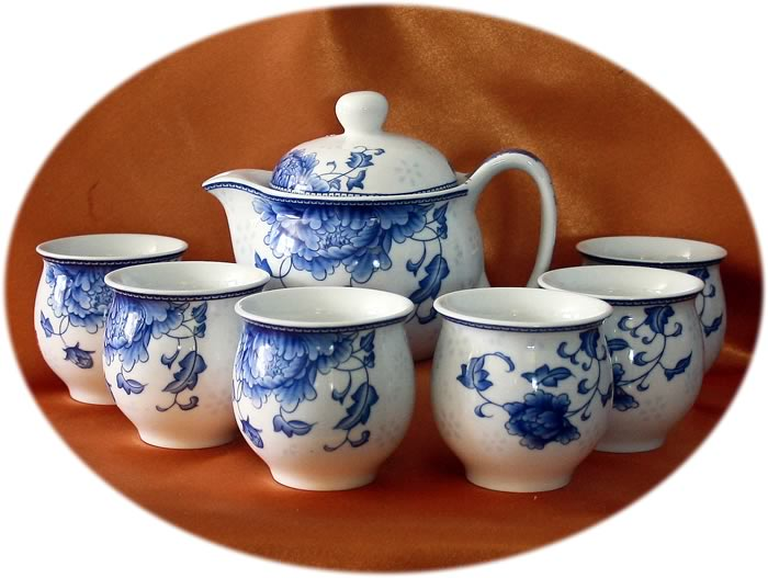 Chinese tea set 7 pieces double layer cups - peony