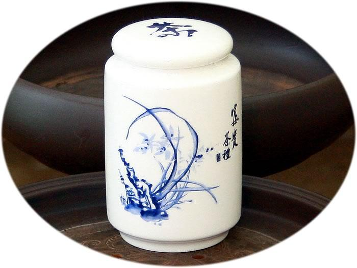 Tea canister (large ceramic) - wild orchid