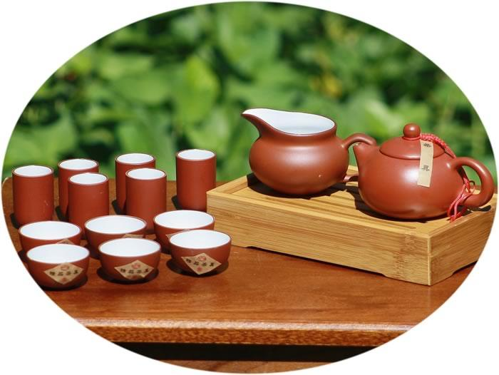 Chinese tea set ZiSha Tea set with bamboo tea tray